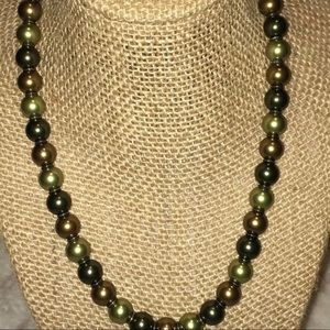 Green Pearl Bead Strand Necklace- Silver